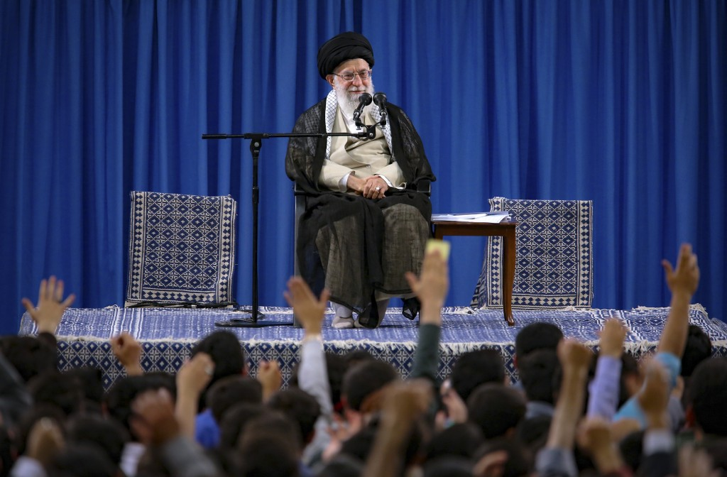 FILE - In this file photo released May 22, 2019, by an official website of the office of the Iranian supreme leader, Supreme Leader Ayatollah Ali Kham...