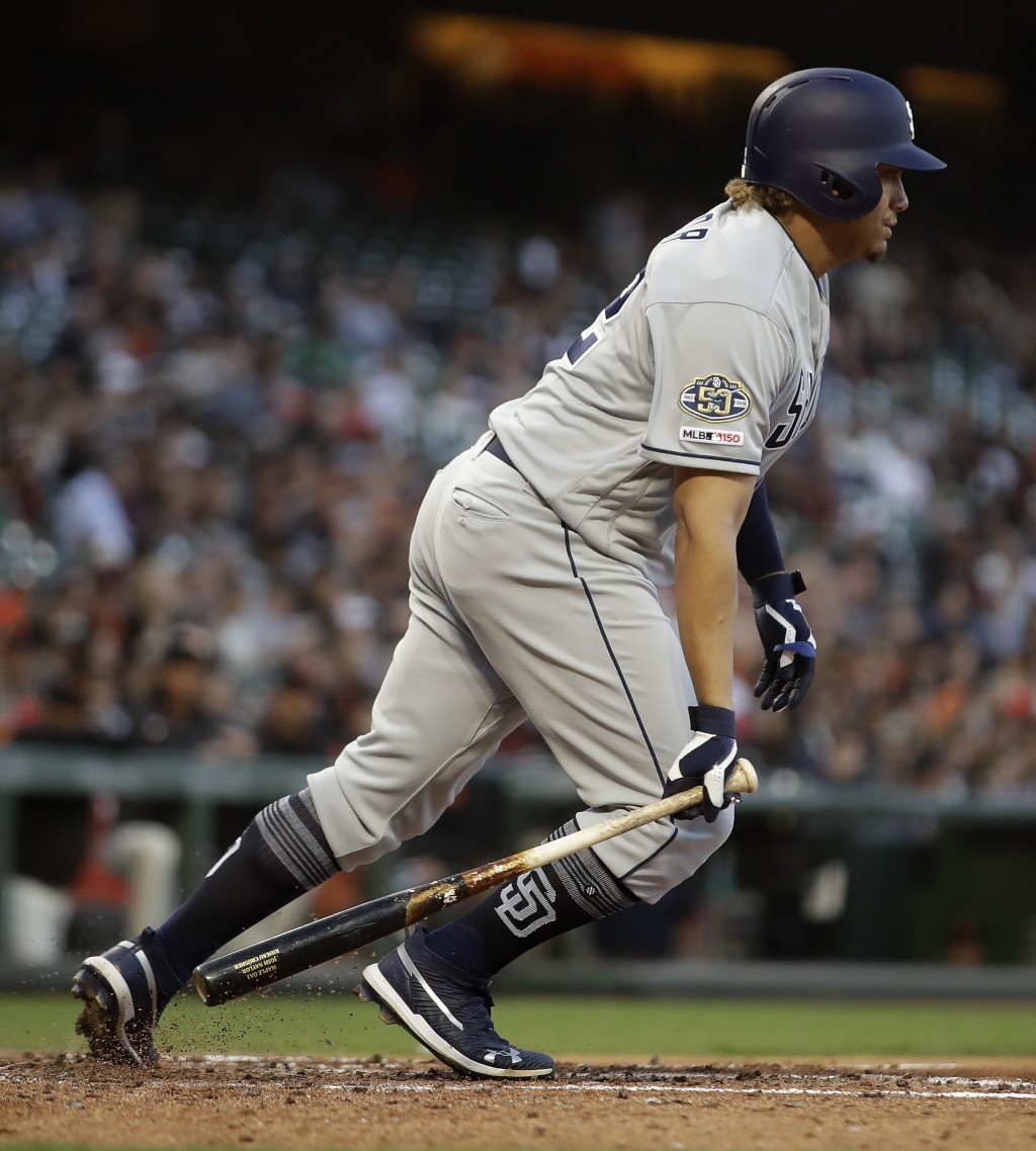 San Diego Padres' Josh Naylor leave's the batter's box on a groundout against the San Francisco Giants during the fifth inning of a baseball game Wedn...