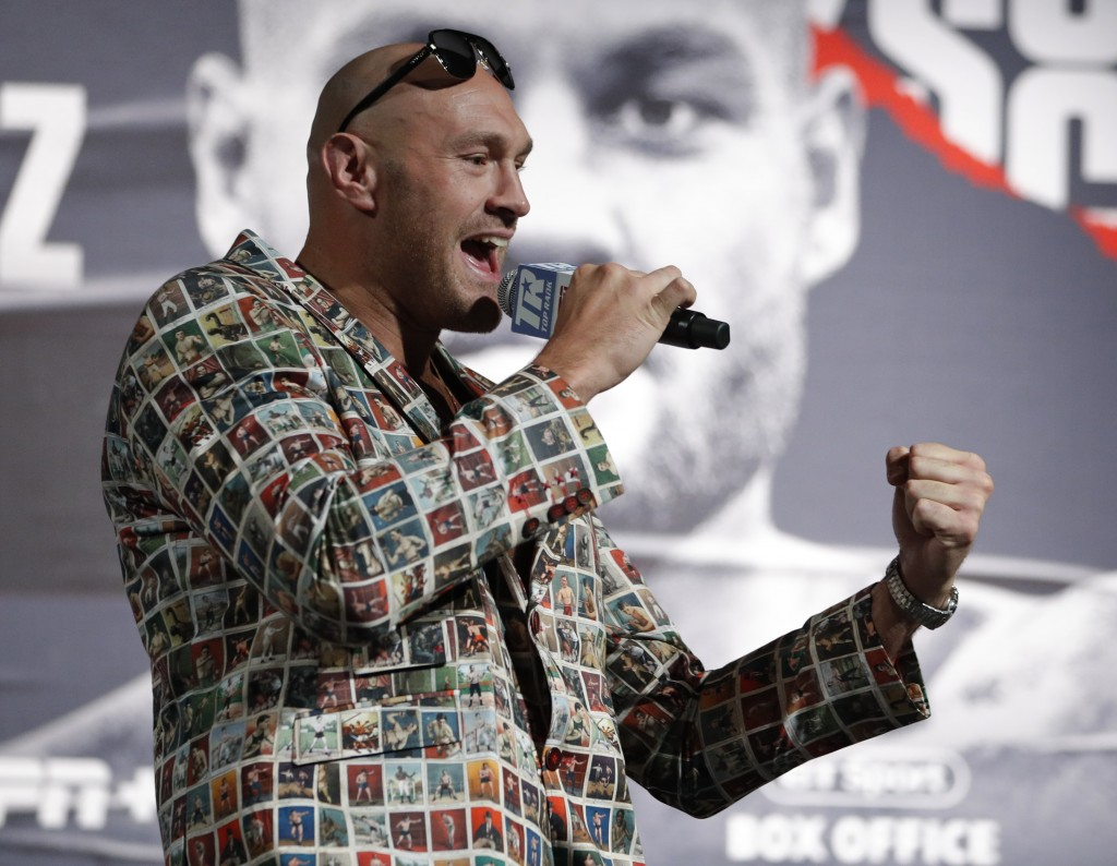 Tyson Fury, of England, speaks during a news conference, Wednesday, June 12, 2019, in Las Vegas. Fury is scheduled to fight Tom Schwarz, of Germany, i