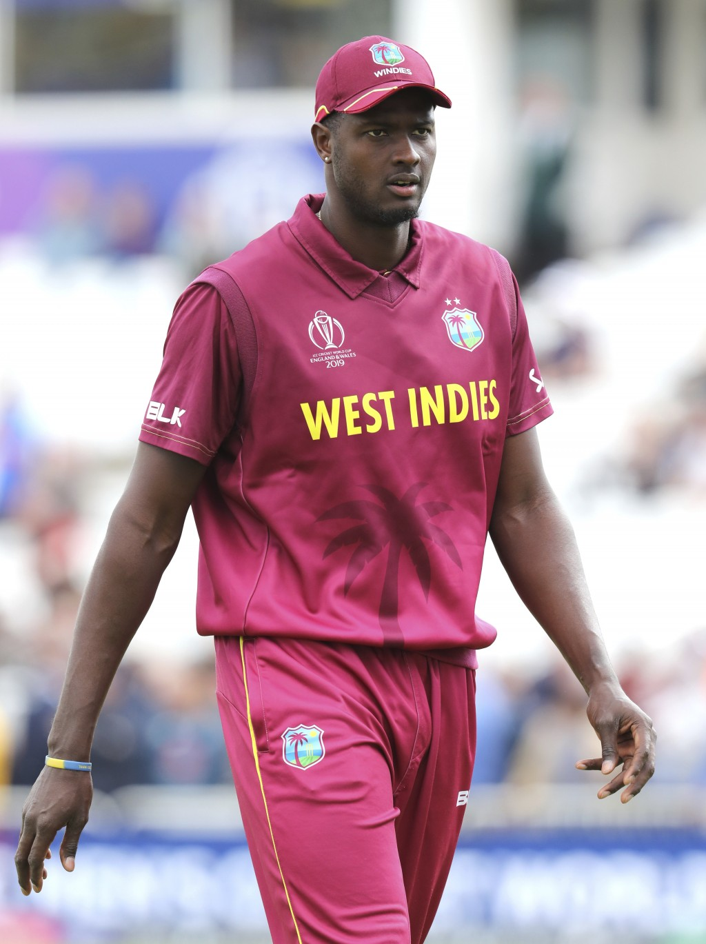 West Indies' captain Jason Holder before the Cricket World Cup match between Australia and West Indies at Trent Bridge in Nottingham, Thursday, June 6...