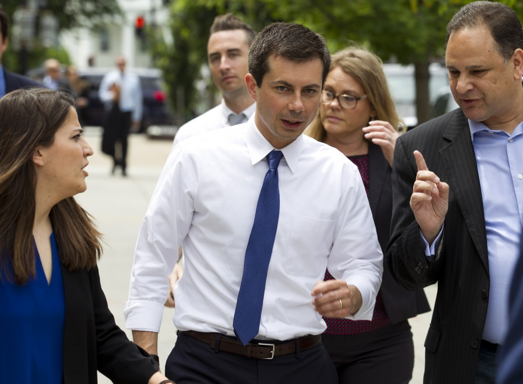 Democratic presidential candidate Mayor Pete Buttigieg, walks to his car after attending a rally, protesting against President Donald Trump policies o