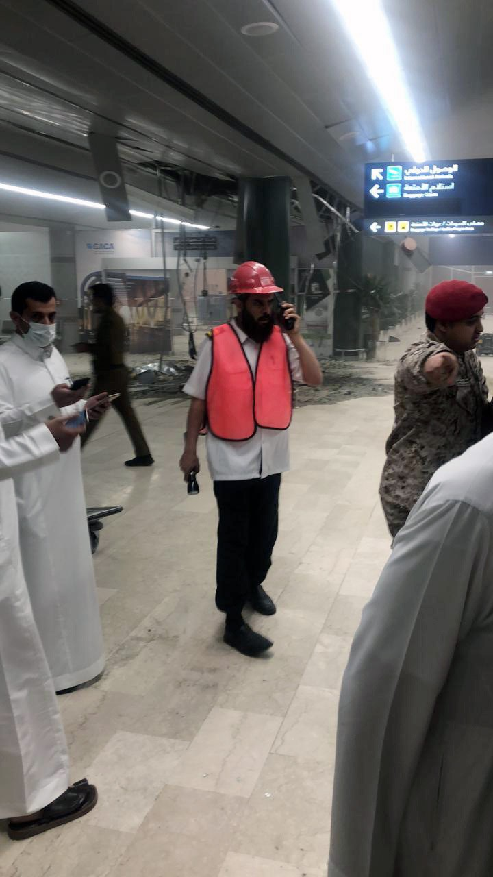 This photograph released by the state-run Saudi Press Agency shows damage inside Abha Regional Airport after an attack by Yemen's Houthi rebels in Abh...