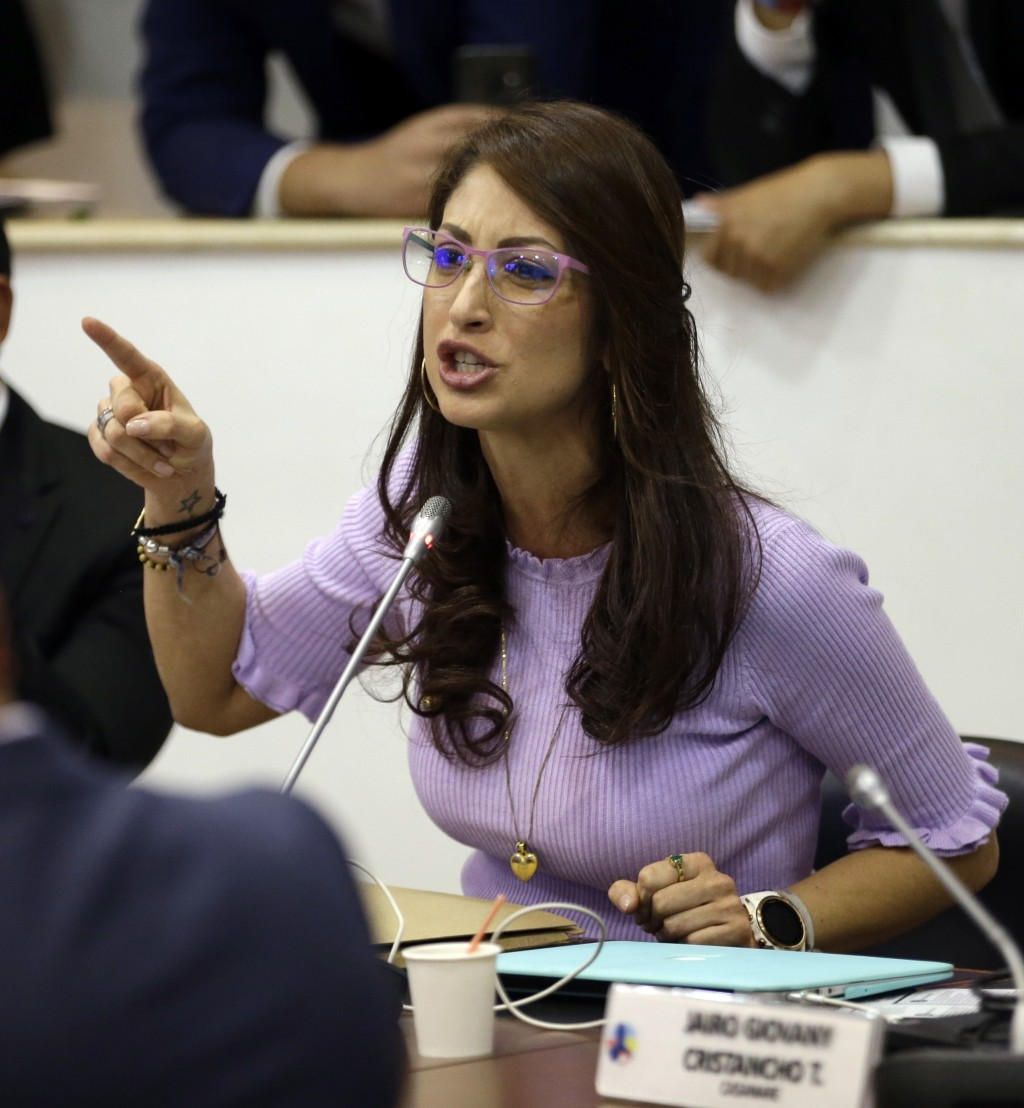Jennifer Arias from the Democratic Center party talks during a session of the Chamber of Representatives at the Colombian congress in Bogota, Colombia