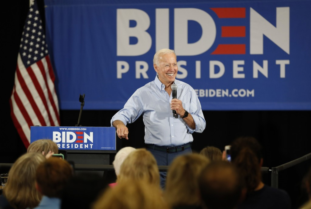 Democratic presidential candidate former Vice President Joe Biden speaks to local residents at Clinton Community College, Wednesday, June 12, 2019, in