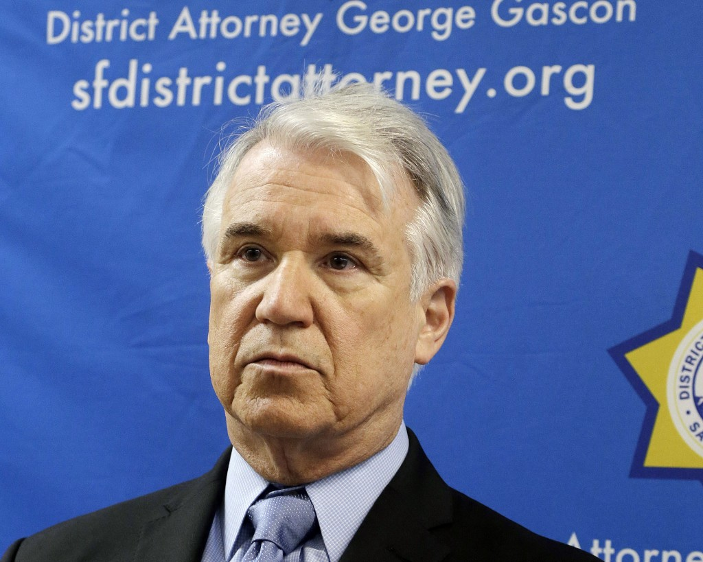 FILE - In this Tuesday, Feb. 16, 2016 file photo, San Francisco District Attorney George Gascon is shown at a news conference in San Francisco, On Wed