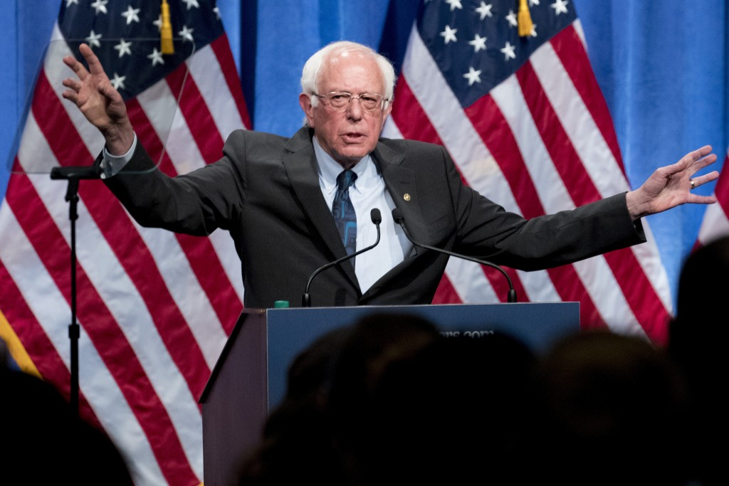 Democratic presidential candidate Sen. Bernie Sanders, I-Vt., speaks at George Washington University in Washington, Wednesday, June 12, 2019, on his p