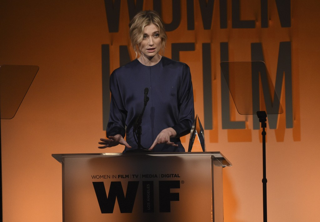 Elizabeth Debicki accepts the Max Mara face of the future award at the Women in Film Annual Gala on Wednesday, June 12, 2019, at the Beverly Hilton Ho