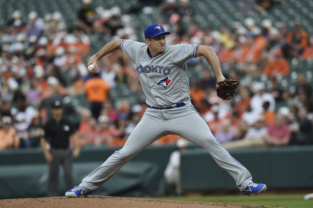 Toronto Blue Jays pitcher Derek Law throws to a Baltimore Orioles batter during the first inning of a baseball game Wednesday, June 12, 2019, in Balti...