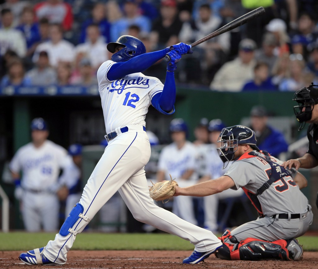 Kansas City Royals' Jorge Soler follows through on an RBI double during the third inning of the team's baseball game against the Detroit Tigers at Kau...