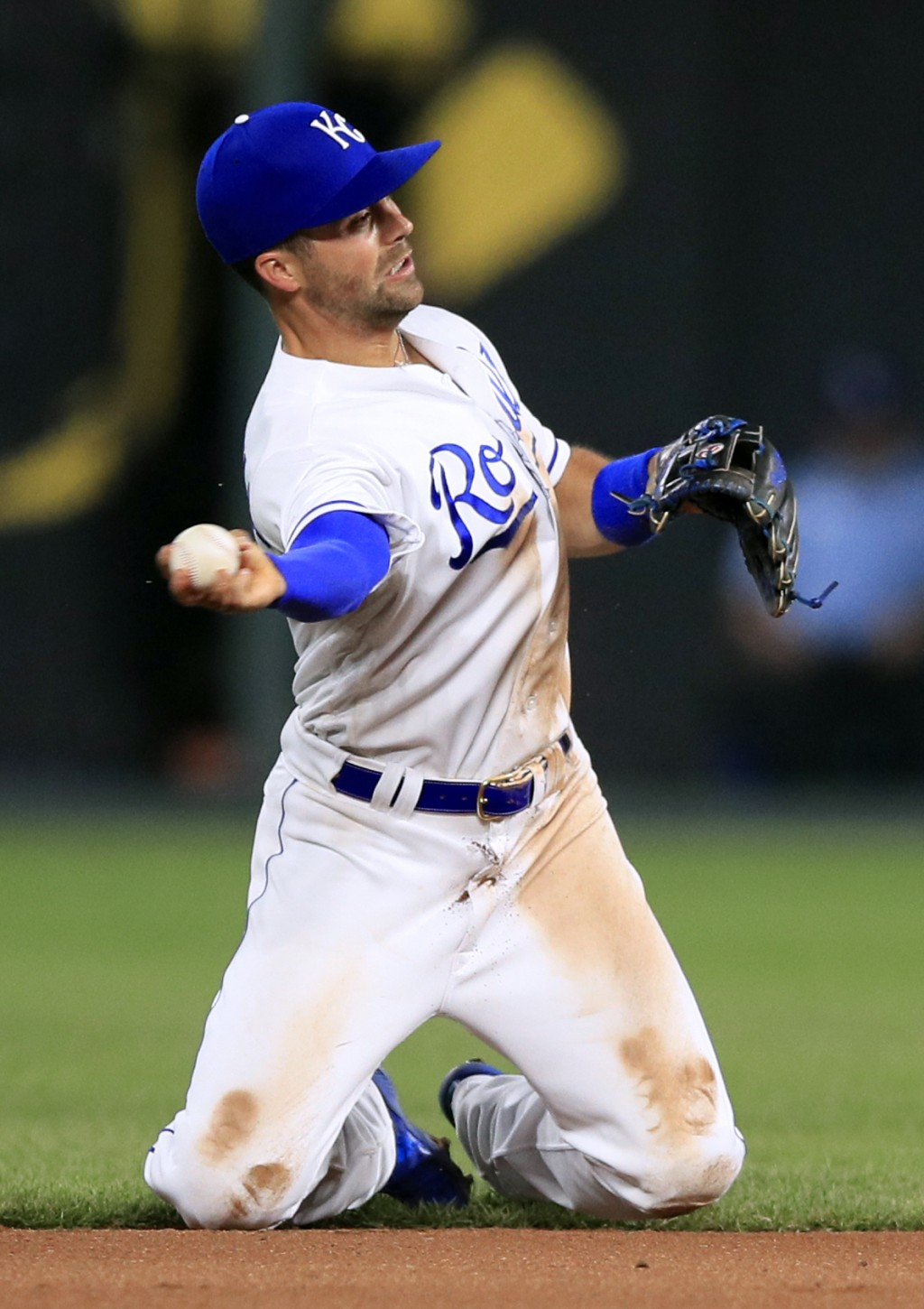 Kansas City Royals second baseman Whit Merrifield throws out Detroit Tigers' Ronny Rodriguez during the seventh inning of a baseball game at Kauffman