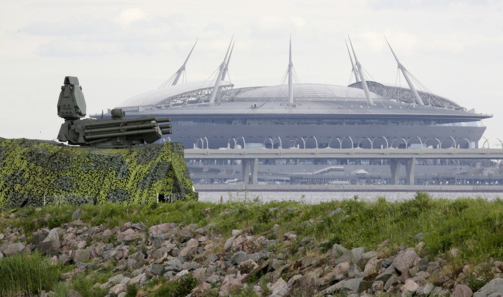 FILE - In this June 12, 2018, file photo, a Pantsir antiaircraft missile system, left, stands on guard of the air space above Saint Petersburg stadium