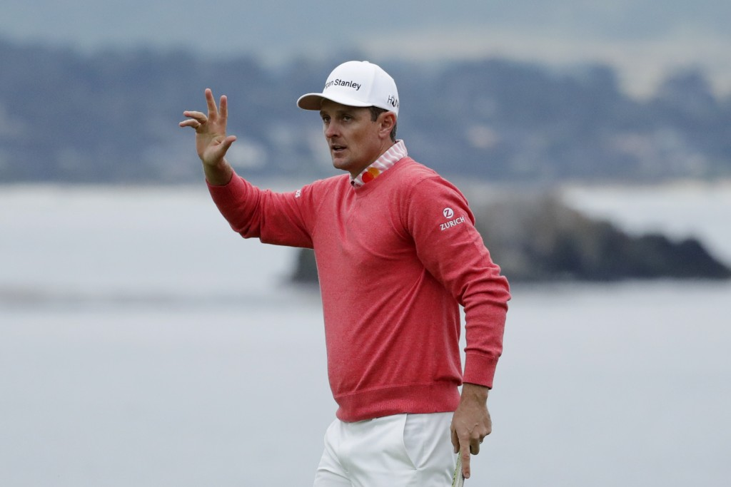 Justin Rose, of England, waves after his first round of the U.S. Open Championship golf tournament Thursday, June 13, 2019, in Pebble Beach, Calif. (A