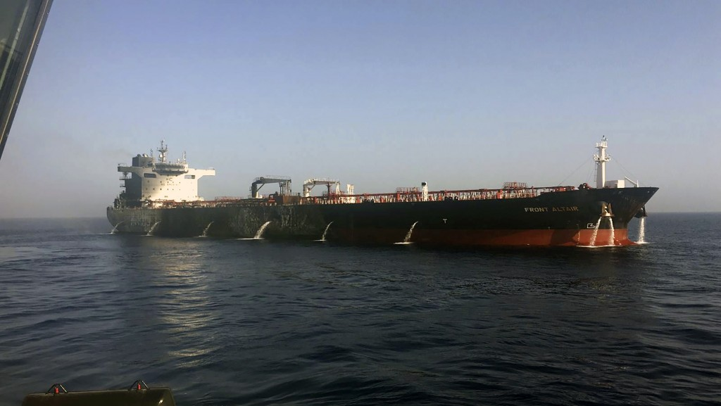 In this photo dated Thursday June 13, 2019, made available by the Norwegian shipowner Frontline, showing the crude oil tanker Front Altair after the f