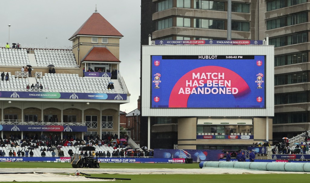 The Cricket World Cup match between India and New Zealand at Trent Bridge in Nottingham, Thursday, June 13, 2019, called off due to rain. Match abando