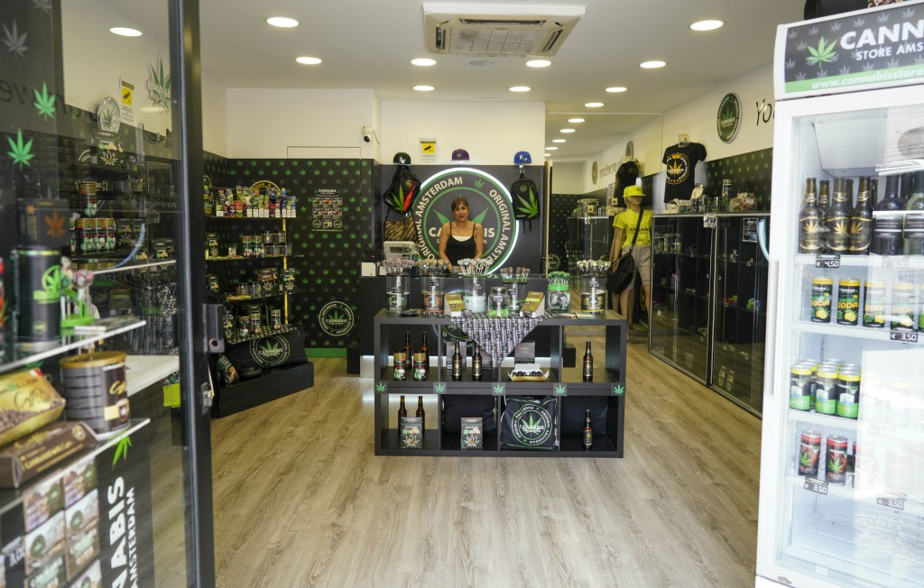 In this Thursday, June 6, 2019 photo shows a cannabis light store in Rome. It's been called Italy's ''Green Gold Rush,'' a flourishing business around...