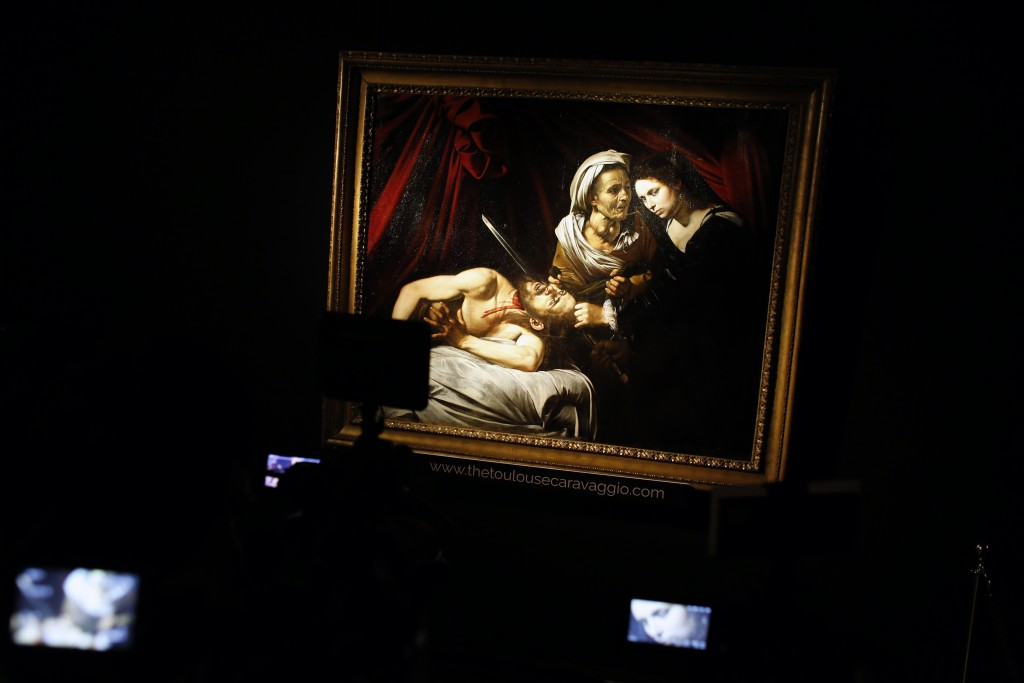 "The Caravaggio' painting entitled ""Judith Beheading Holofernes"", is presented to the press, at the Drouot auction house in Paris, Friday, June 14, 201"