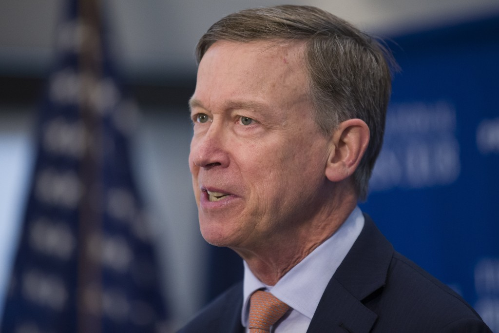 Former Colorado Governor John Hickenlooper speaks during a media availability at the National Press Club, Thursday, June 13, 2019, in Washington. (AP