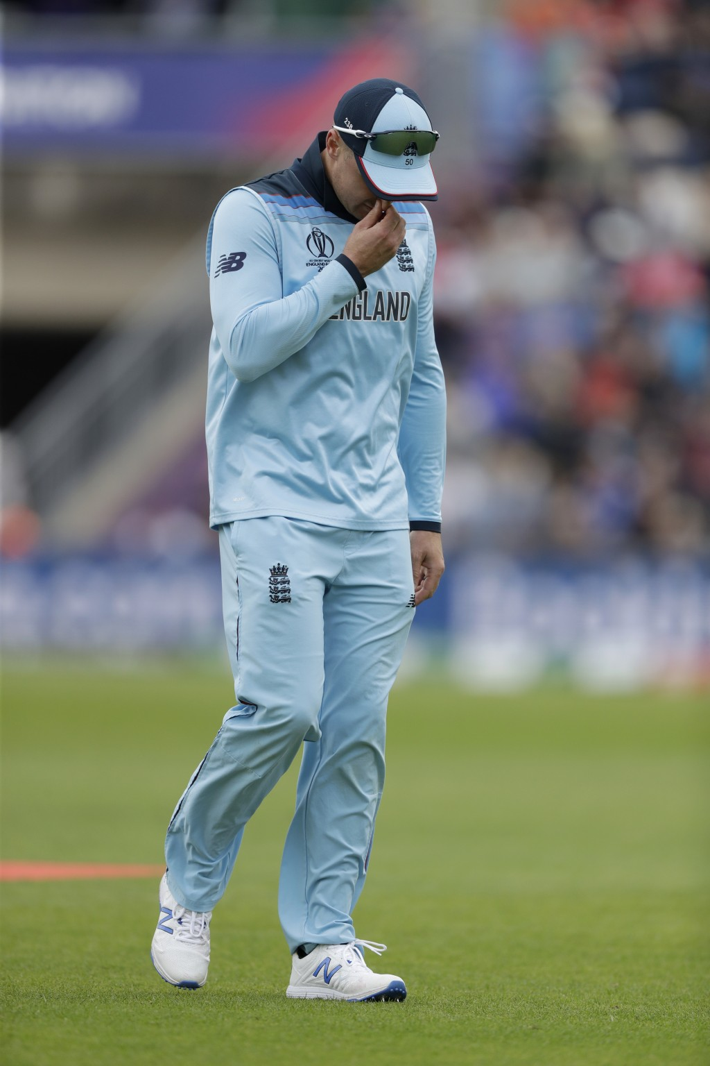 England's Jason Roy walks off the field of play with a leg injury during the Cricket World Cup match between England and West Indies at the Hampshire ...