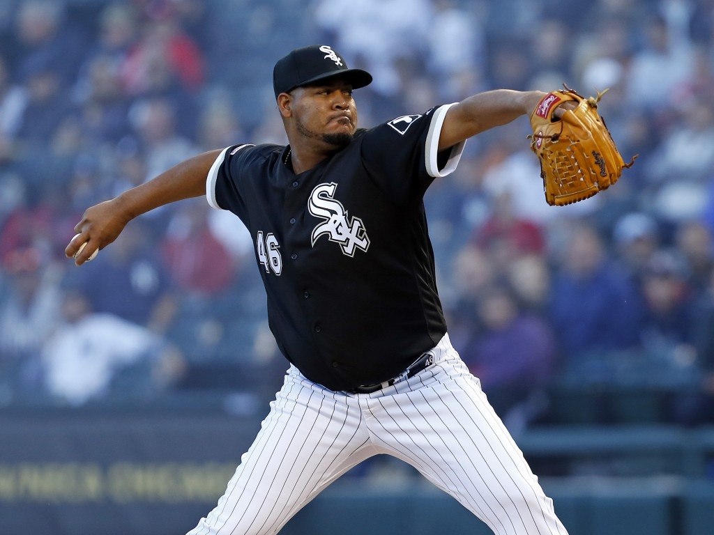 Chicago White Sox starting pitcher Ivan Nova throws to a New York Yankees batter during the first inning of a baseball game Thursday, June 13, 2019, i...