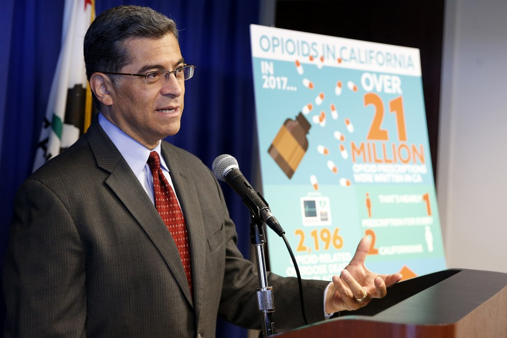 FILE - In this Monday, June 3, 2019 file photo, California Attorney General Xavier Becerra discusses the lawsuit his office has filed to Purdue Pharma