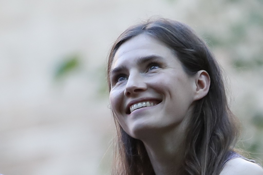 Amanda Knox attends a cocktail for the opening of the Innocence Project conference, in Modena, Italy, Thursday, June 13, 2019. Knox has returned to It
