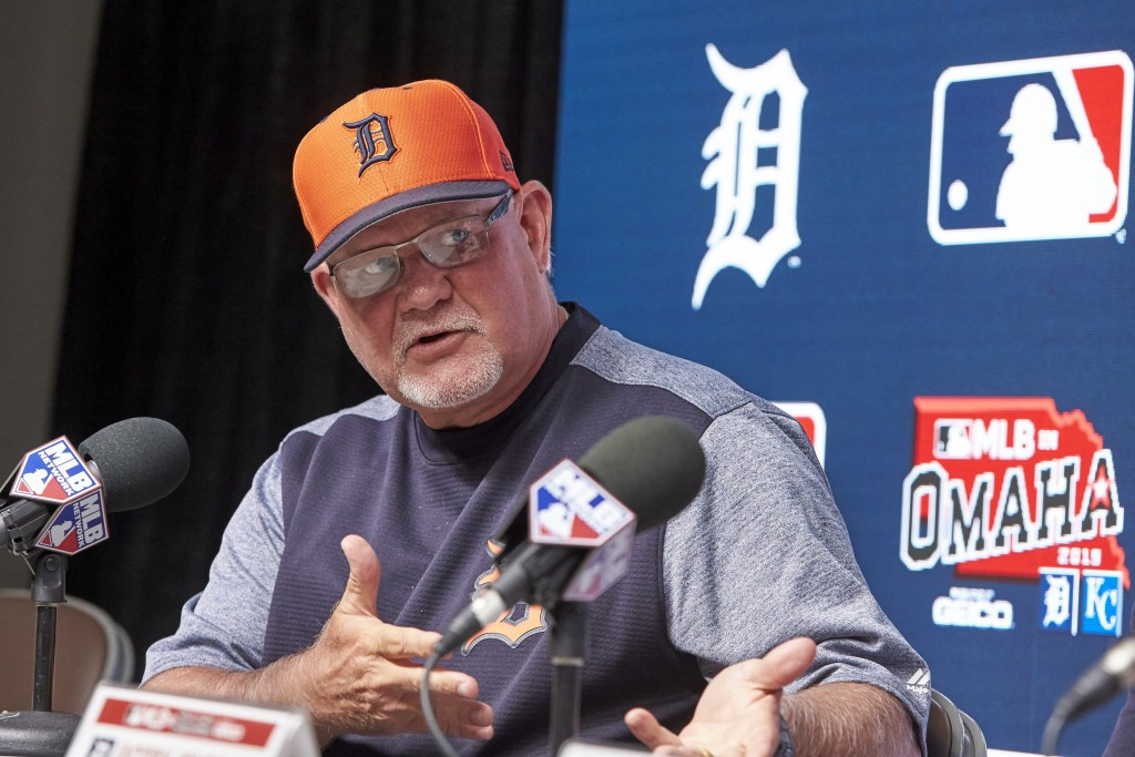 Detroit Tigers manager Ron Gardenhire gestures during a news conference ahead of a baseball game between the Tigers and the Kansas City Royals at TD A