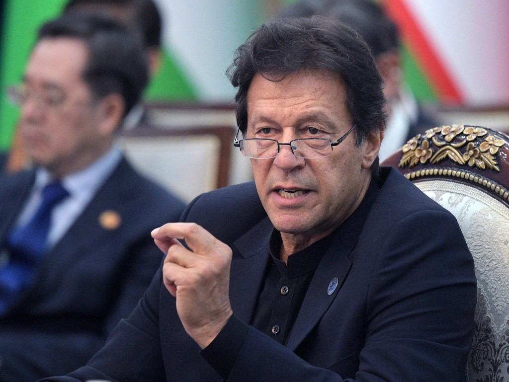 Pakistan's Prime Minister Imran Khan attends a session of the Shanghai Cooperation Organization summit in Bishkek, Kyrgyzstan, Friday, June 14, 2019.