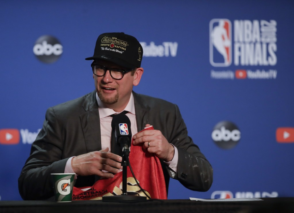 Toronto Raptors head coach Nick Nurse speaks at a news conference after the Raptors defeated the Golden State Warriors in Game 6 of basketball's NBA F...