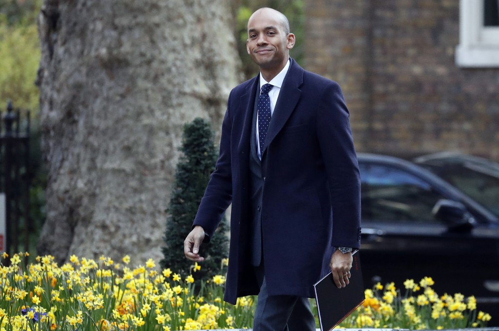 FILE - In this file photo dated Monday, April 1, 2019, Britain's lawmaker Chuka Umunna arrives at 10 Downing Street for a knife crime summit in London