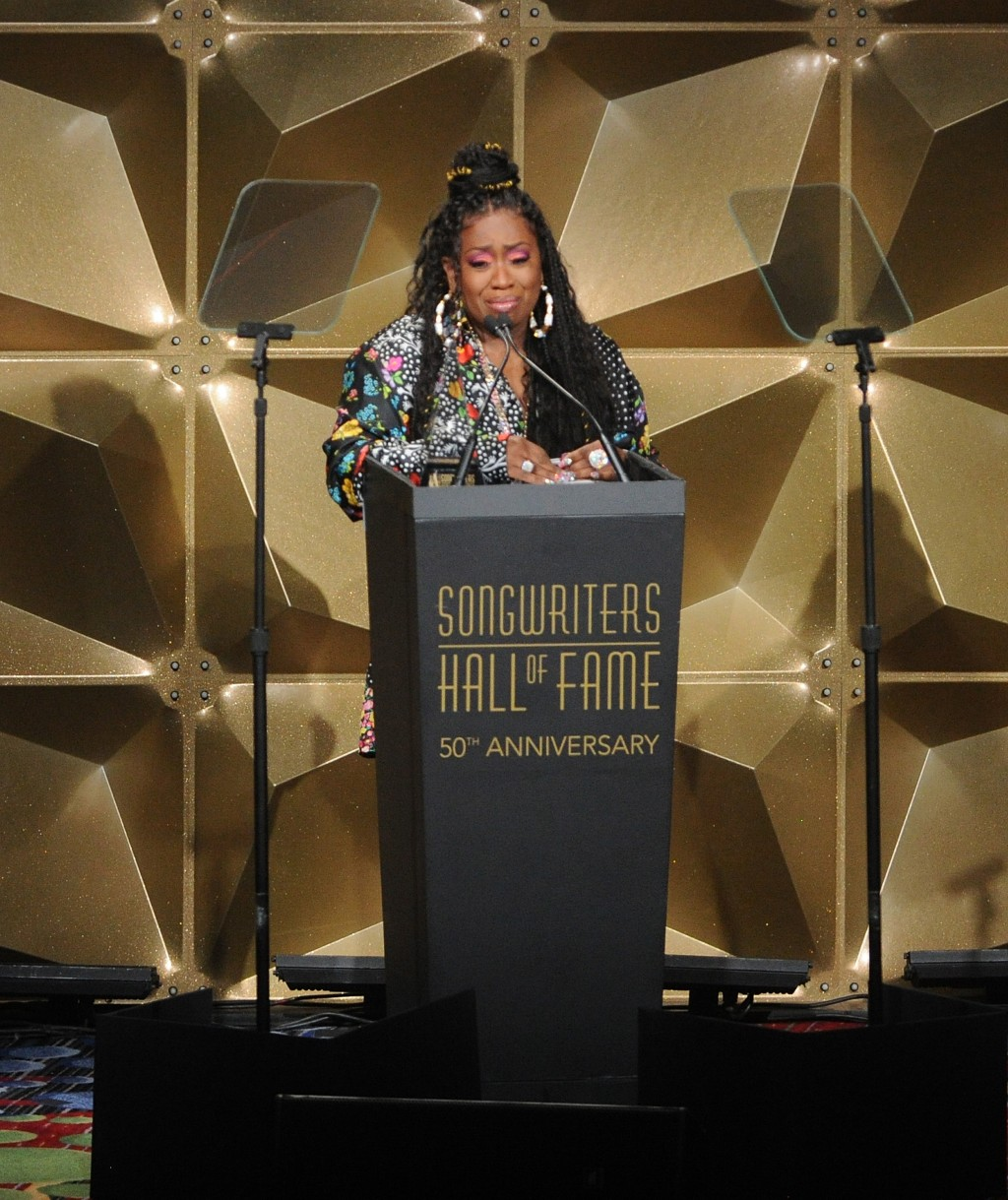 Missy Elliott speaks at the 50th annual Songwriters Hall of Fame induction and awards ceremony at the New York Marriott Marquis Hotel on Thursday, Jun