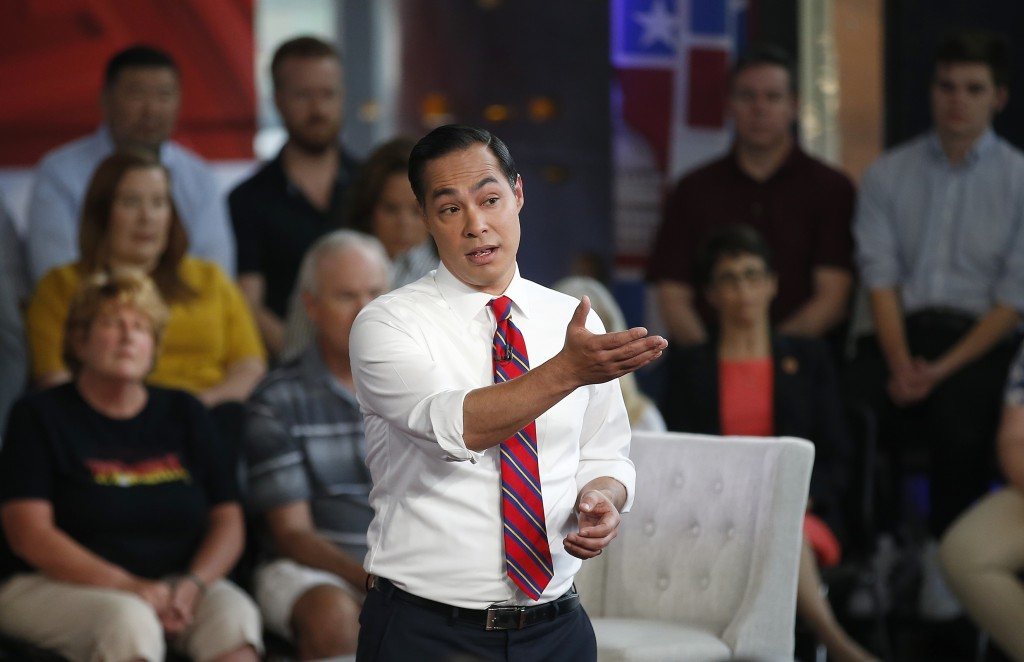 Democratic presidential candidate Julian Castro speaks during a FOX News Channel town hall event, Thursday, June 13, 2019, in Tempe, Ariz. (AP Photo/R