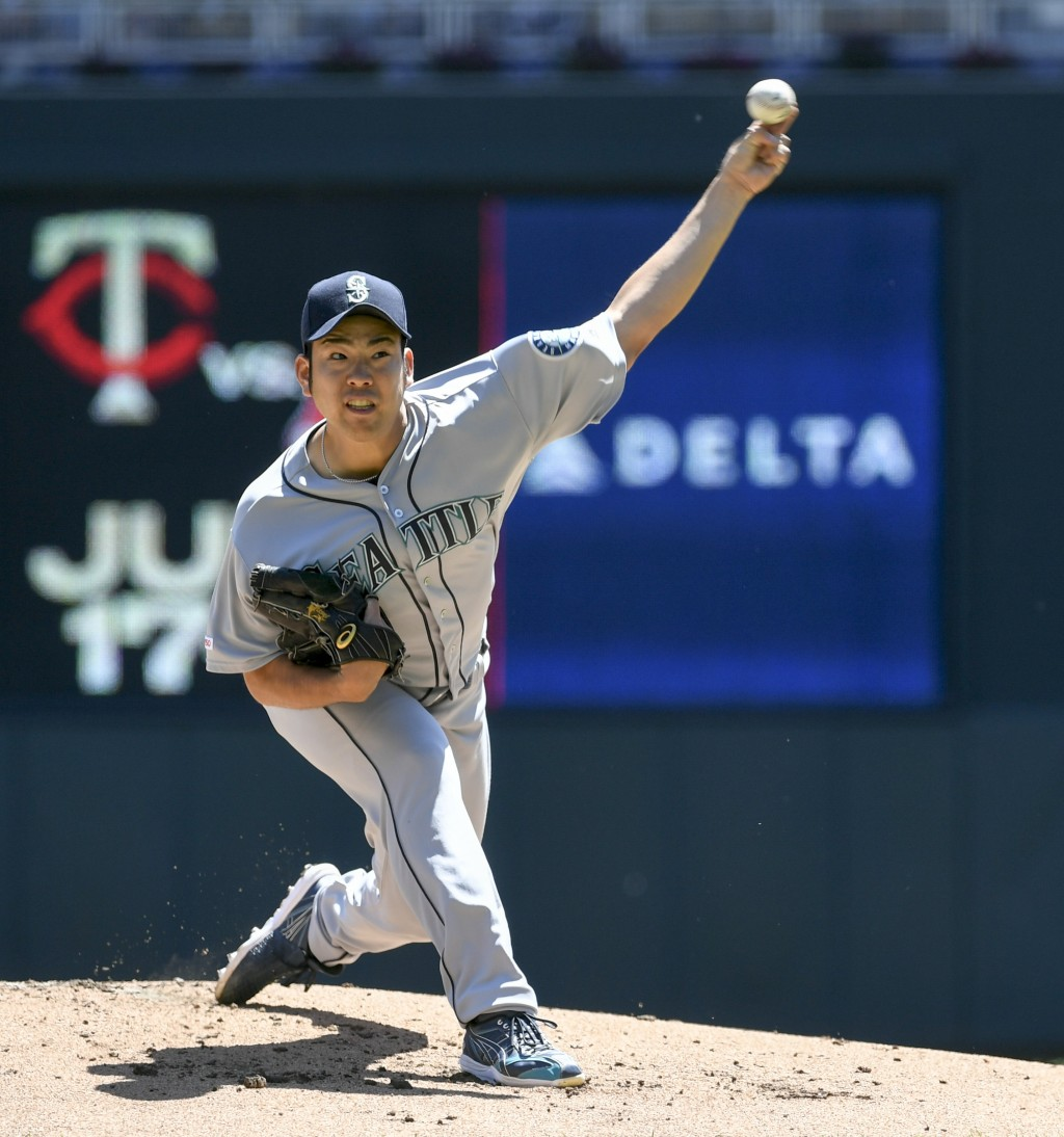 Seattle Mariners pitcher Yusei Kikuchi throws against the Minnesota Twinsduring the first inning of a baseball game Thursday, June 13, 2019, in Minne