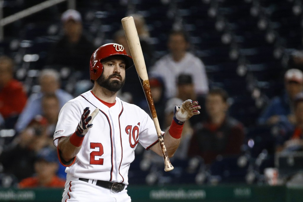 Washington Nationals' Adam Eaton reacts after striking out to end a baseball game against the Arizona Diamondbacks, Thursday, June 13, 2019, in Washin