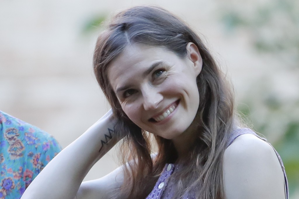 Amanda Knox attends a cocktail for the opening of the Innocence Project conference, in Modena, Italy, Thursday, June 13, 2019. Knox has returned to It...