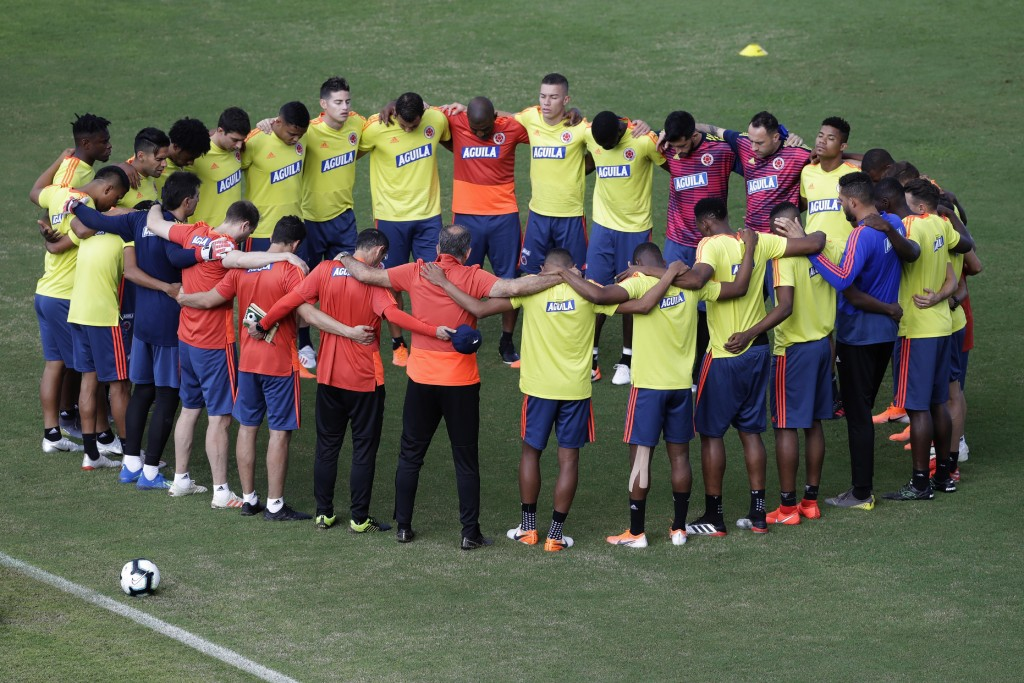 Colombia's national soccer team huddles during a training session at Pituacu stadium in Salvador, Brazil, Thursday, June 13, 2019. On Saturday, Colomb
