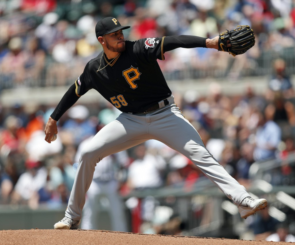 Pittsburgh Pirates starting pitcher Joe Musgrove works against the Atlanta Braves in the first inning of a baseball game Thursday, June 13, 2019, in A