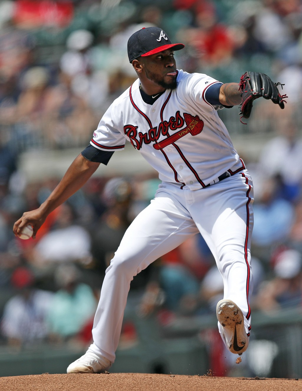 Atlanta Braves starting pitcher Julio Teheran works against the Pittsburgh Pirates in the first inning of a baseball game Thursday, June 13, 2019, in