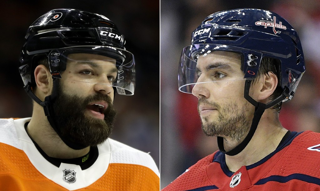 FILE - At left is a 2019 file photo showing Philadelphia Flyers NHL hockey player Radko Gudas. At right is a 2018 file photo showing Washington Capita