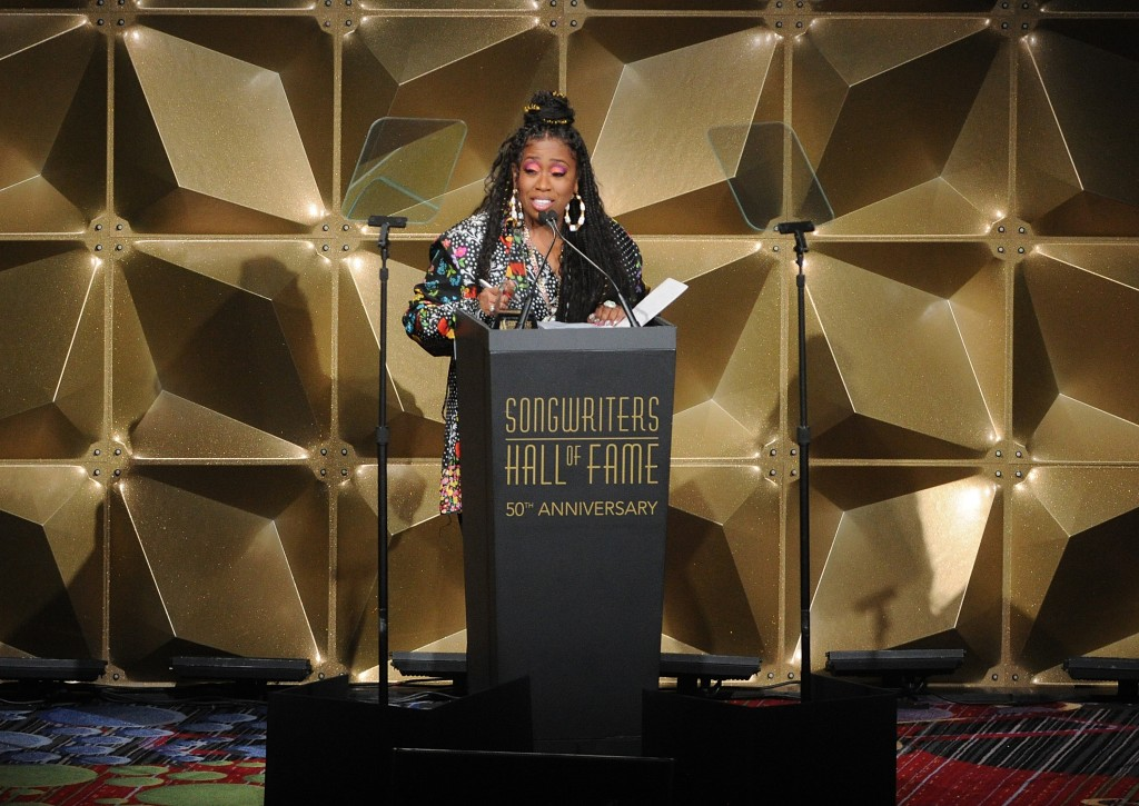 Missy Elliott speaks at the 50th annual Songwriters Hall of Fame induction and awards ceremony Thursday, June 13, 2019, in New York. (Photo by Brad Ba