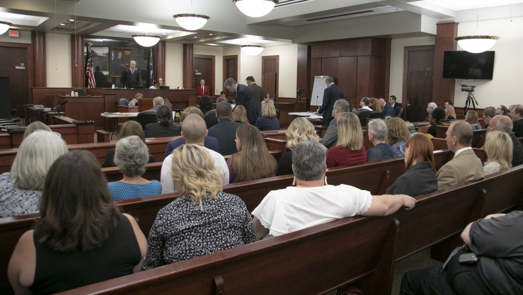 People from Saxe Gotha Elementary School fill the courtroom during the sentencing phase of the trial of Timothy Jones Jr. in Lexington, S.C. on Thursd