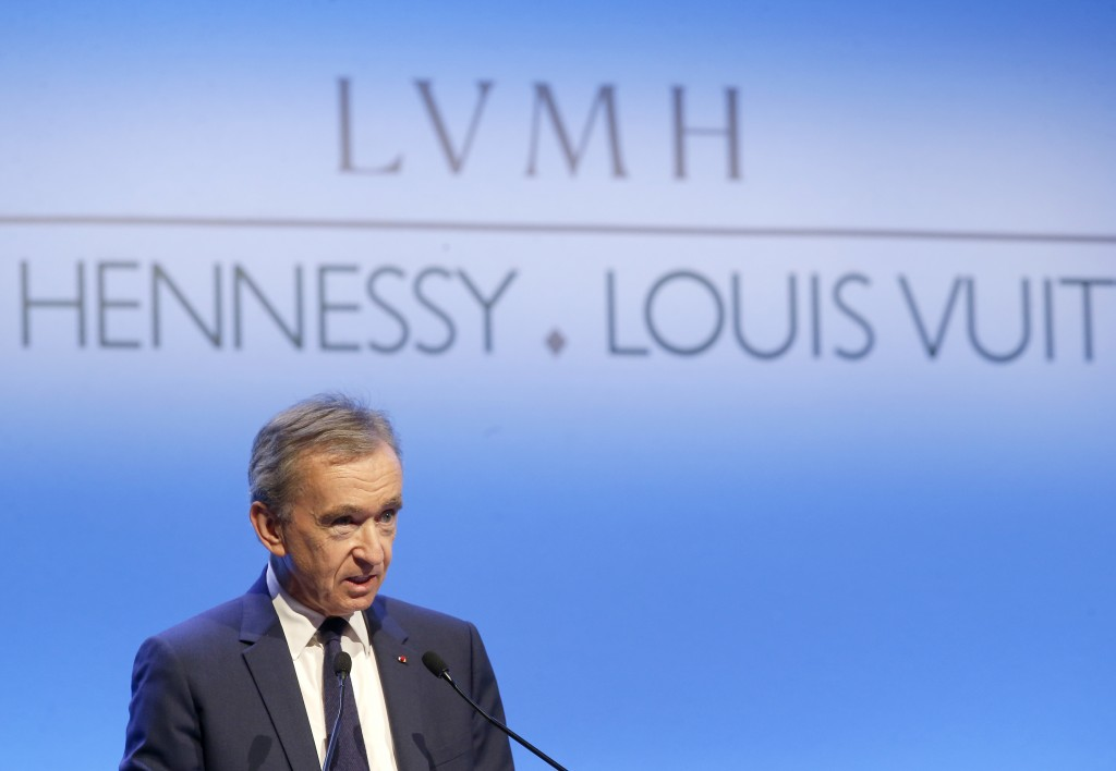 FILE - In this Jan.25, 2018 file photo, CEO of LVMH Bernard Arnault presents the group's 2017 results in Paris, France. The billionaire French donors