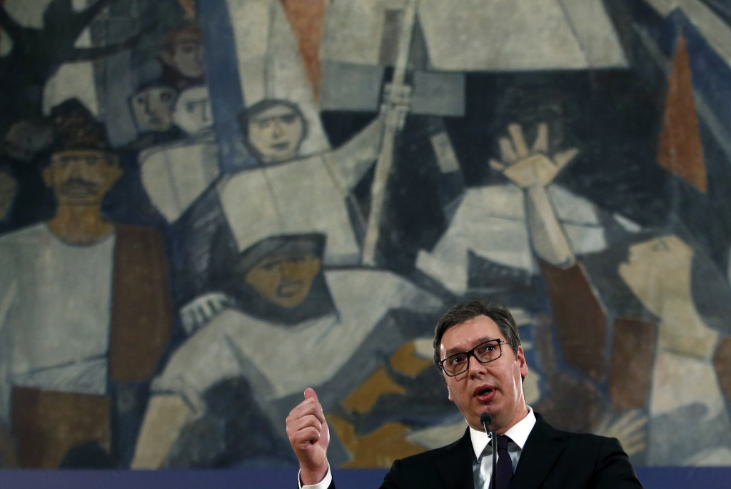 FILE - In this Sunday, March 17, 2019 file photo, Serbia's President Aleksandar Vucic speaks during a press conference in Belgrade, Serbia. Serbia's l