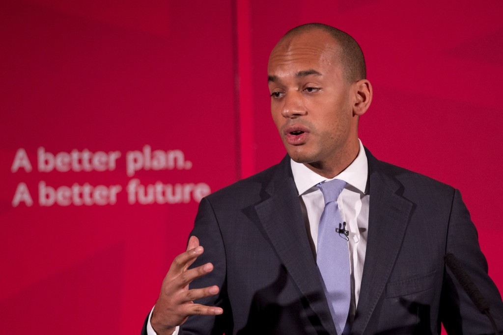 FILE - In this file photo dated Thursday, April 9, 2015, Britain's Labour Party Business Secretary Chuka Umunna speaks during a press conference in Lo...