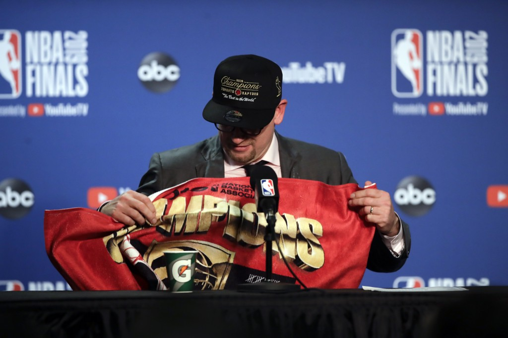Toronto Raptors head coach Nick Nurse speaks at a news conference after the Raptors defeated the Golden State Warriors in Game 6 of basketball's NBA F