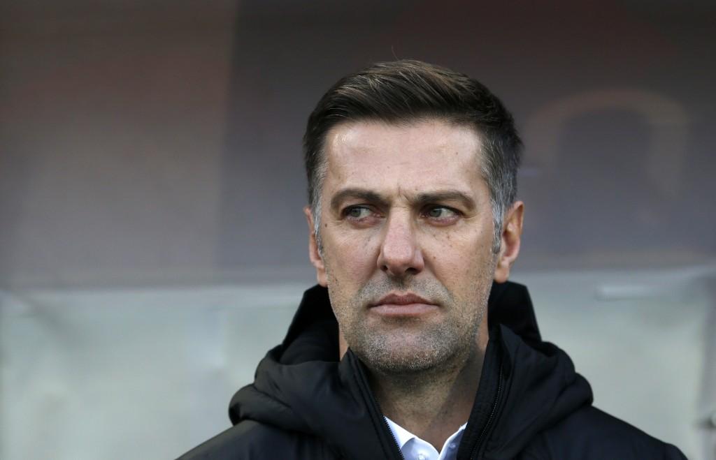 In this Saturday Nov. 17, 2018, Serbia coach Mlade...