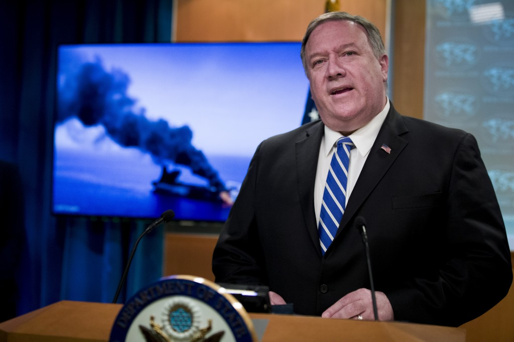 Secretary of State Mike Pompeo speaks at the State Department, Thursday, June 13, 2019, in Washington. Pompeo says Iran is believed to be responsible