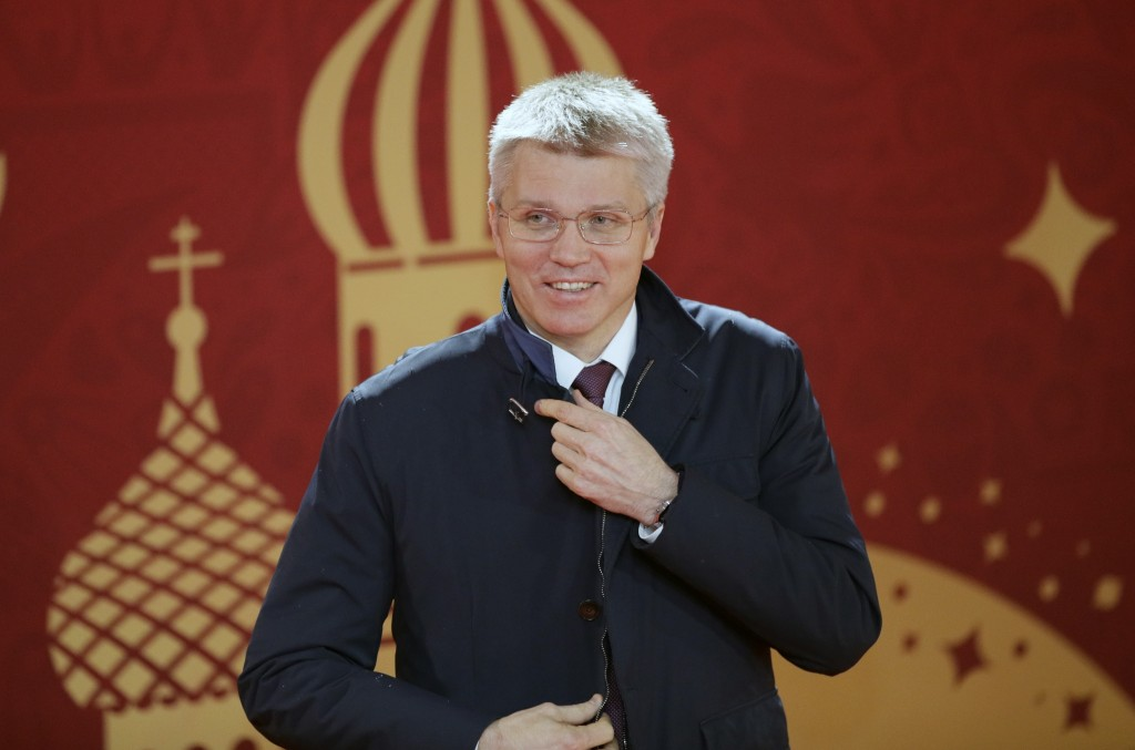 FILE - In this Dec. 1, 2017, file photo, Russia's Sport Minister Pavel Kolobkov arrives for the 2018 soccer World Cup draw in the Kremlin in Moscow, R