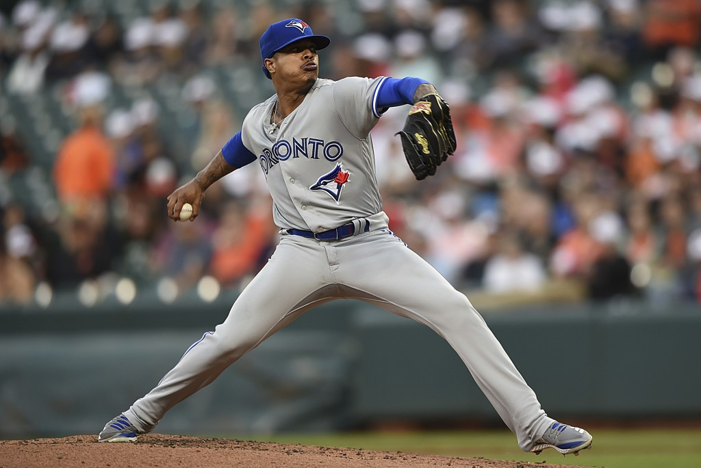 Toronto Blue Jays pitcher Marcus Stroman throws to a Baltimore Orioles batter during the first inning of a baseball game Thursday, June 13, 2019, in B