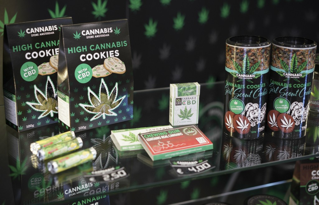In this Thursday, June 6, 2019 photo, biscuits and other products are displayed at a Cannabis light store, in Rome. It's been called Italy's ''Green G...