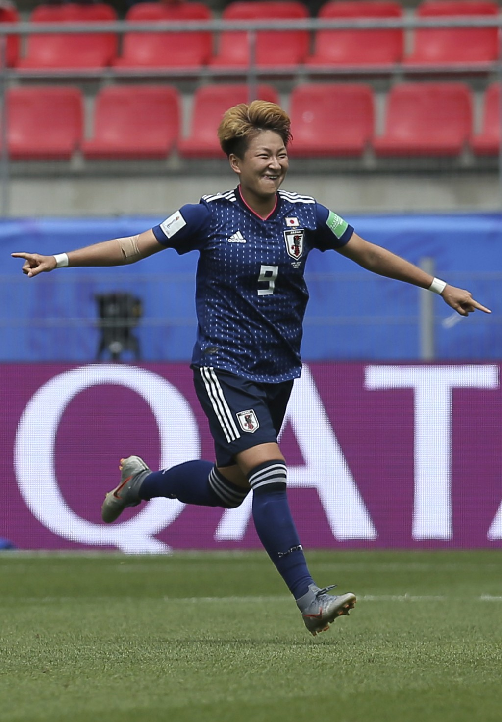 Japan's Yuika Sugasawa jubilates after scoring the matches second goal, on a penalty, during the Women's World Cup Group D soccer match between Japan ...